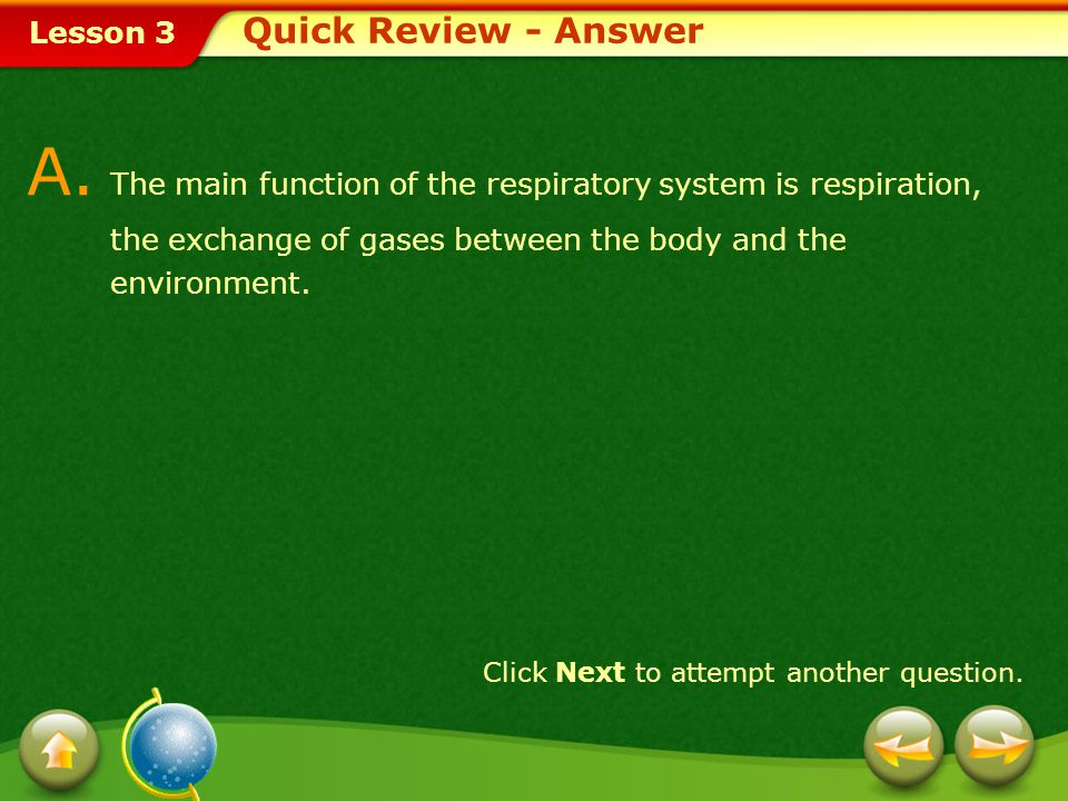 A. The main function of the respiratory system is respiration,
