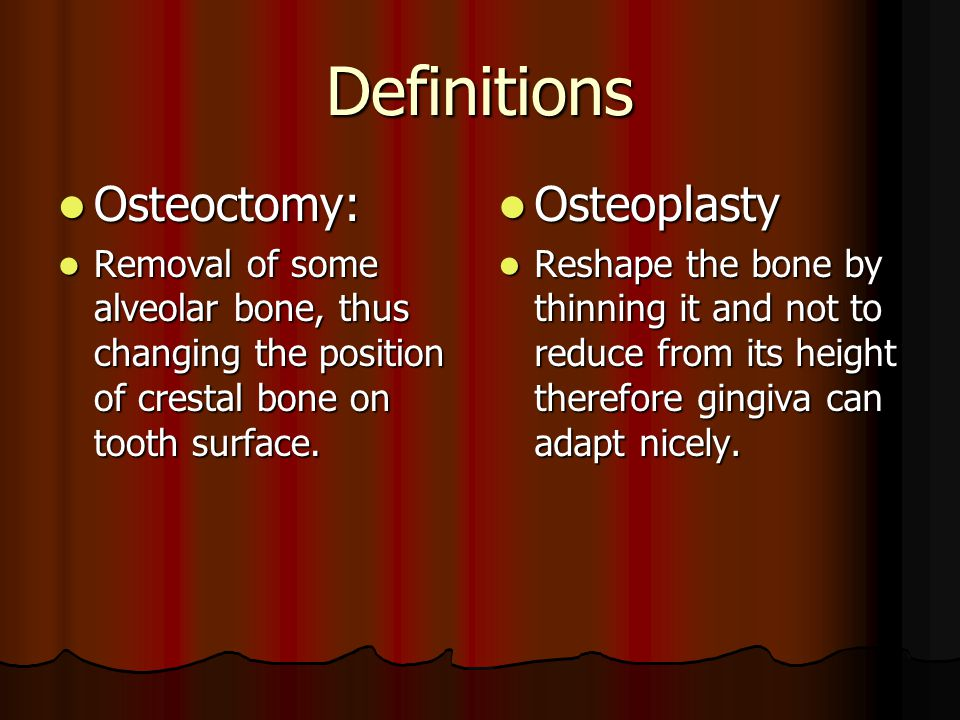 Definitions Osteoctomy: Osteoplasty