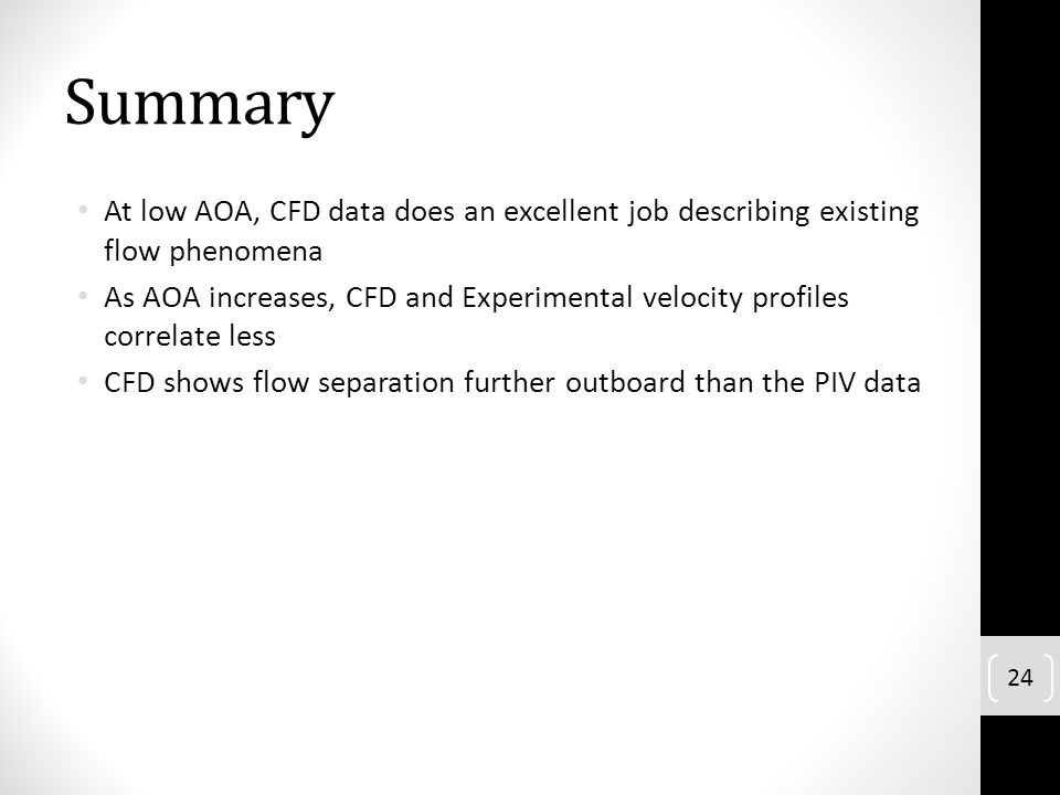Summary At low AOA, CFD data does an excellent job describing existing flow phenomena.