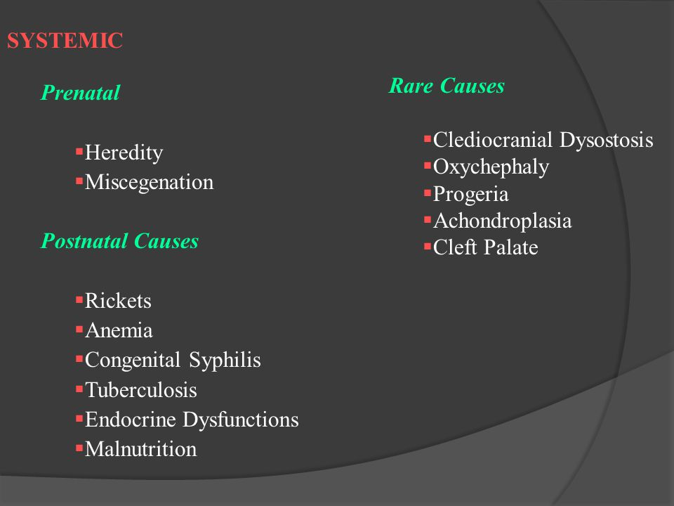 SYSTEMIC Prenatal. Heredity. Miscegenation. Postnatal Causes. Rickets. Anemia. Congenital Syphilis.