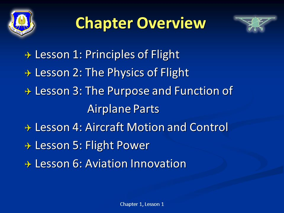 Chapter Overview Lesson 1: Principles of Flight