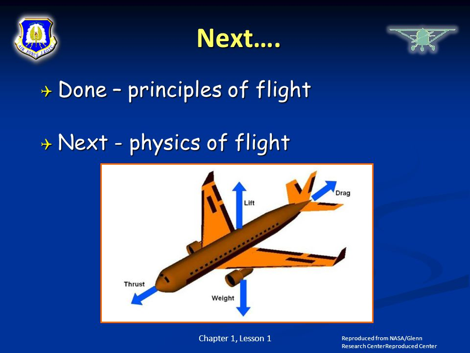 Next…. Done – principles of flight Next - physics of flight