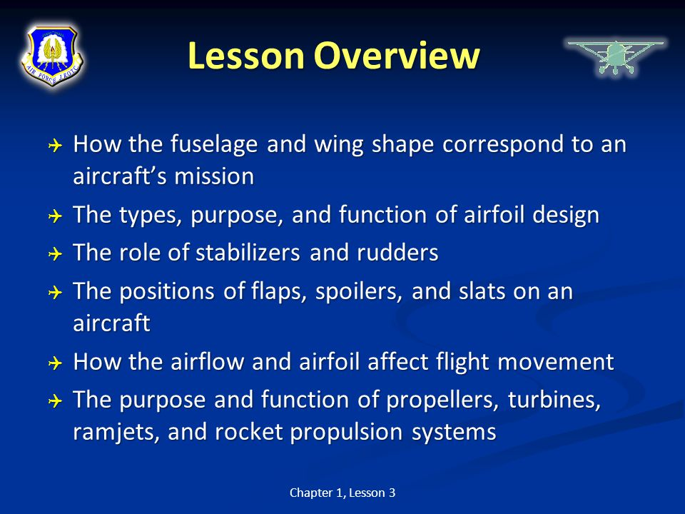 Lesson Overview How the fuselage and wing shape correspond to an aircraft's mission. The types, purpose, and function of airfoil design.
