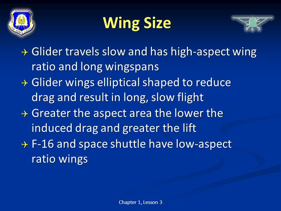 Wing Size Glider travels slow and has high-aspect wing ratio and long wingspans.