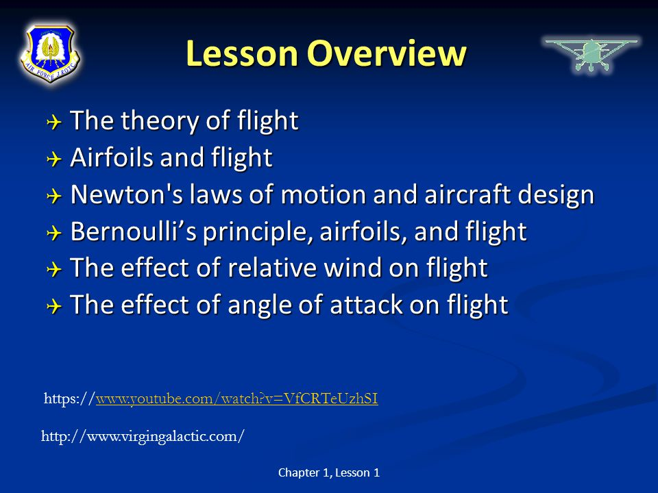 Lesson Overview The theory of flight Airfoils and flight