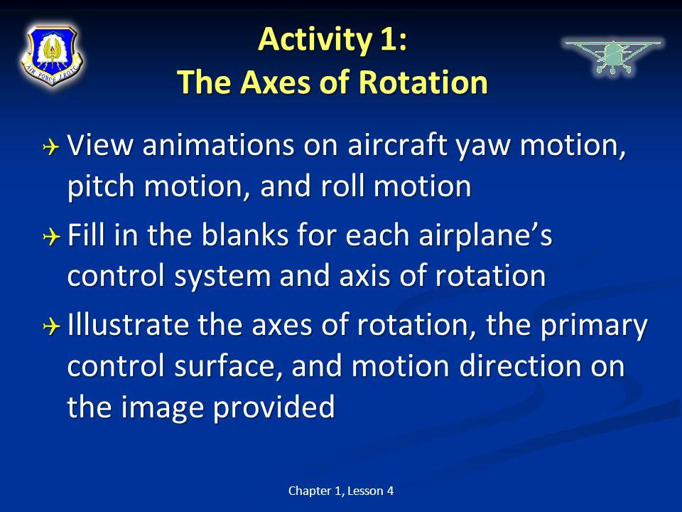 Activity 1: The Axes of Rotation