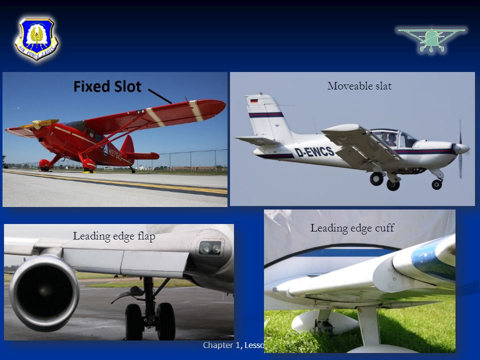 Moveable slat Leading edge cuff Leading edge flap Chapter 1, Lesson 4