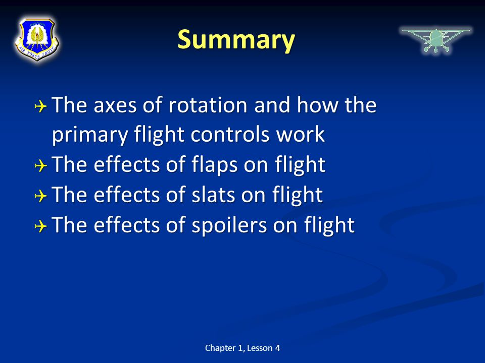 Summary The axes of rotation and how the primary flight controls work