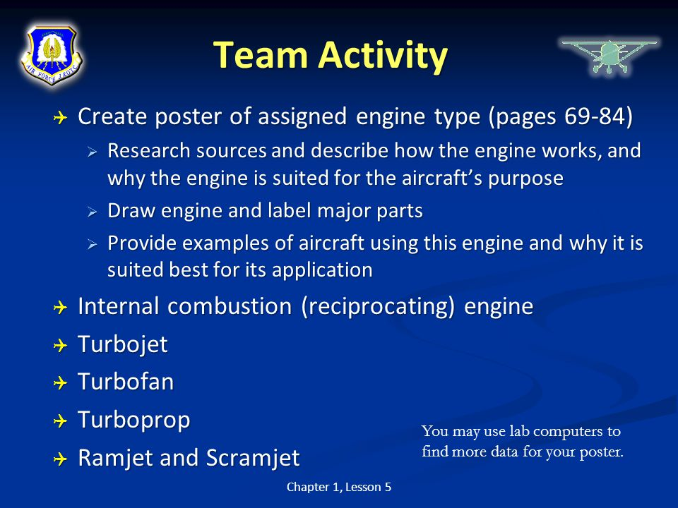 Team Activity Create poster of assigned engine type (pages 69-84)