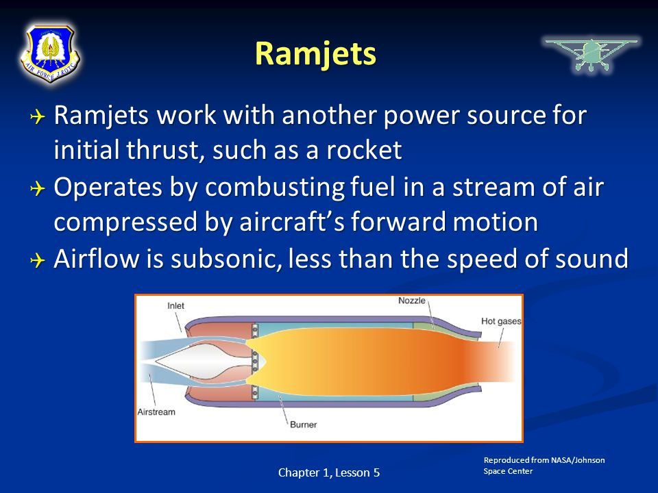 Ramjets Ramjets work with another power source for initial thrust, such as a rocket.
