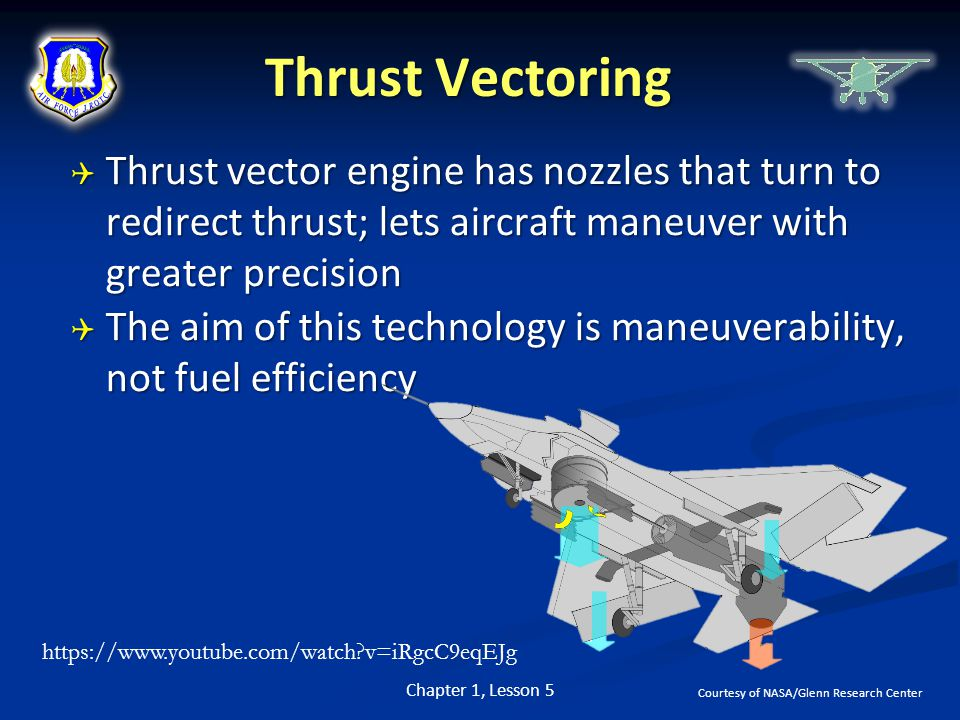 Thrust Vectoring Thrust vector engine has nozzles that turn to redirect thrust; lets aircraft maneuver with greater precision.