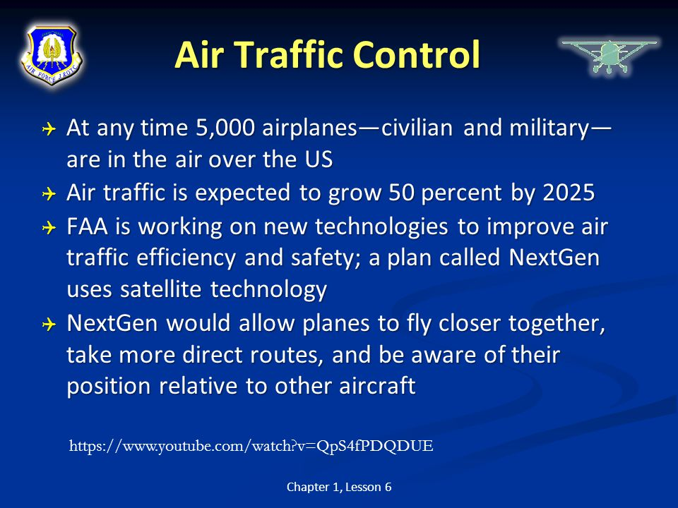 Air Traffic Control At any time 5,000 airplanes—civilian and military— are in the air over the US.