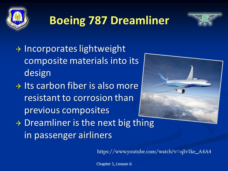 Boeing 787 Dreamliner Incorporates lightweight composite materials into its design.