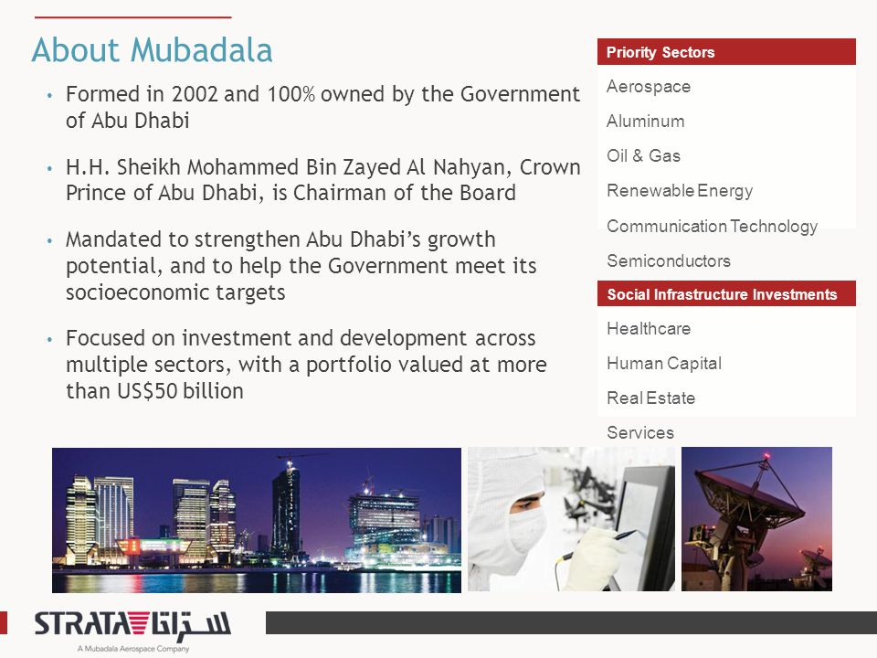 About Mubadala Priority Sectors. Aerospace Aluminum Oil & Gas Renewable Energy Communication Technology Semiconductors