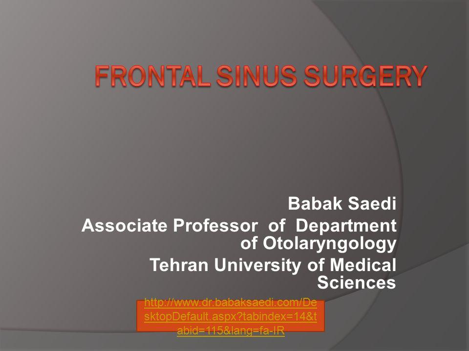 Frontal Sinus Surgery Babak Saedi