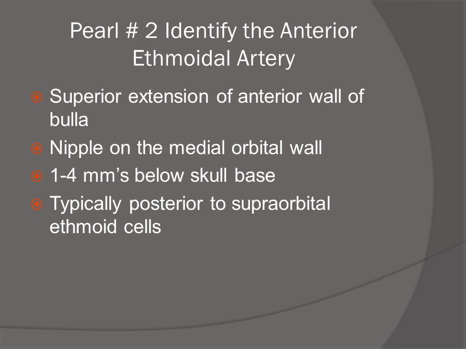 Pearl # 2 Identify the Anterior Ethmoidal Artery