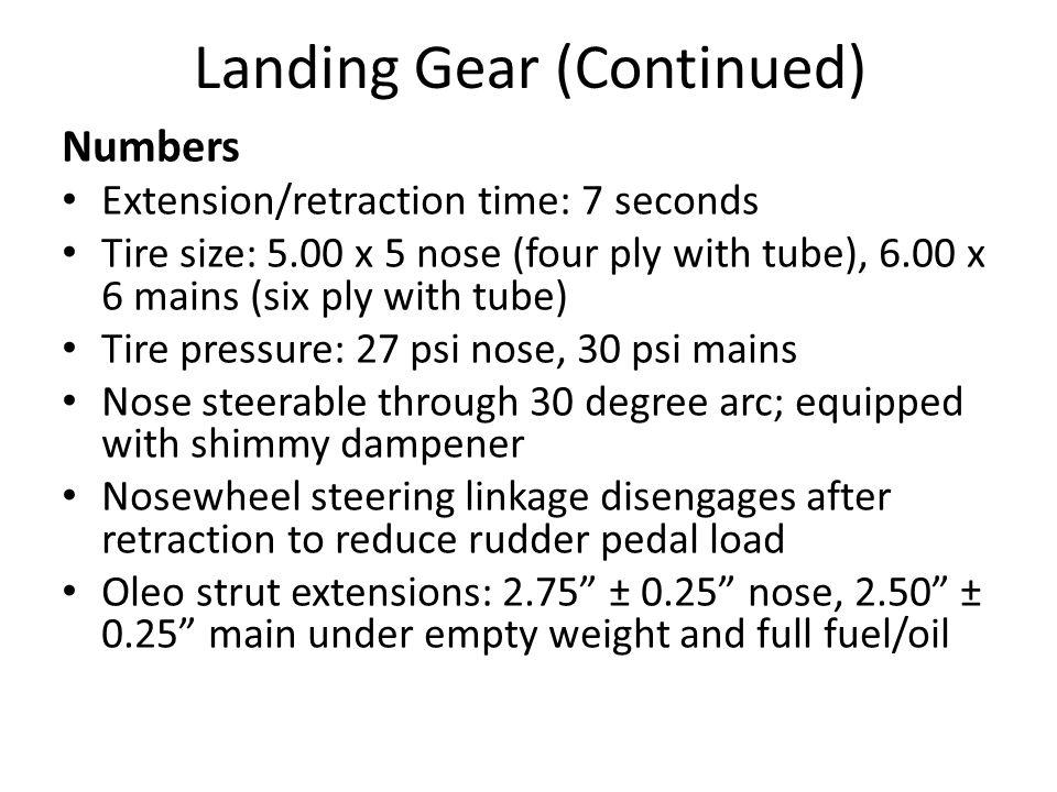 Landing Gear (Continued)