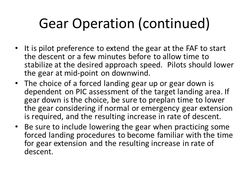 Gear Operation (continued)