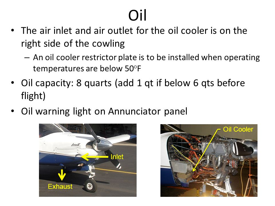 Oil The air inlet and air outlet for the oil cooler is on the right side of the cowling.