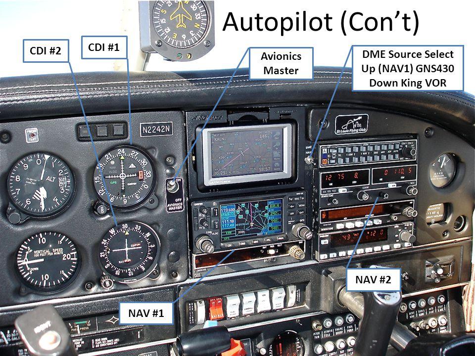 Autopilot (Con't) CDI #1 CDI #2 DME Source Select Avionics