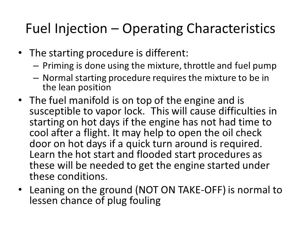 Fuel Injection – Operating Characteristics