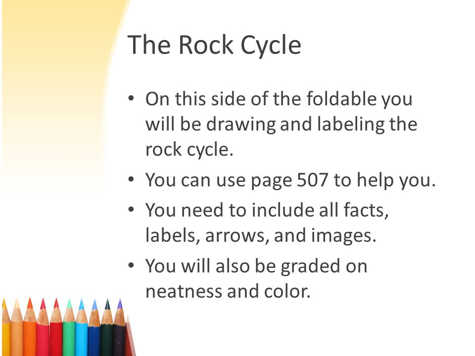 The Rock Cycle On this side of the foldable you will be drawing and labeling the rock cycle. You can use page 507 to help you.