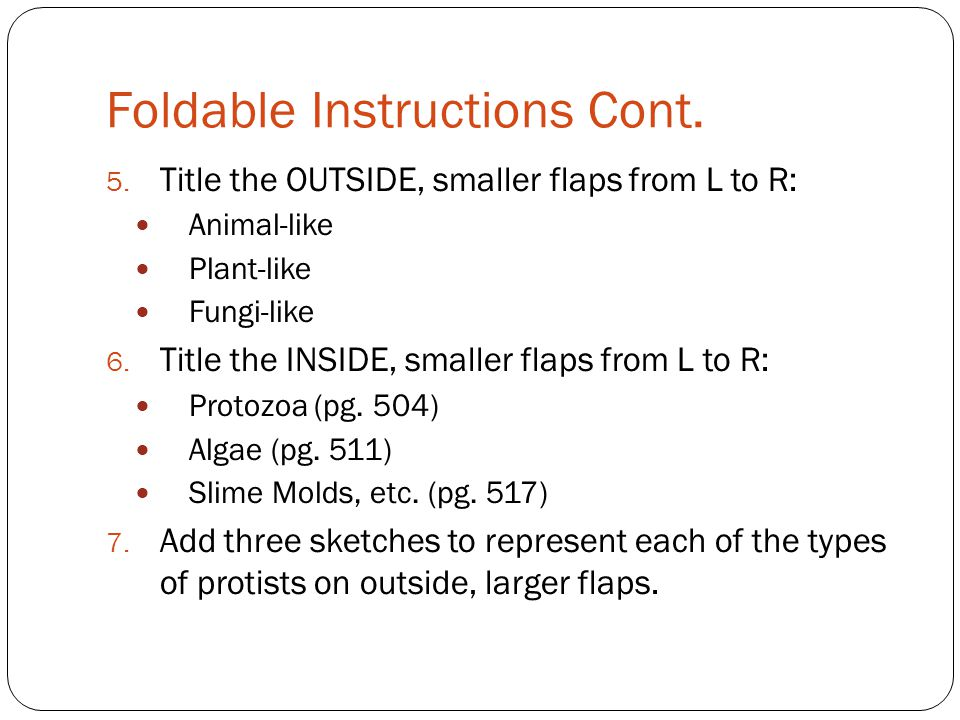 Foldable Instructions Cont.