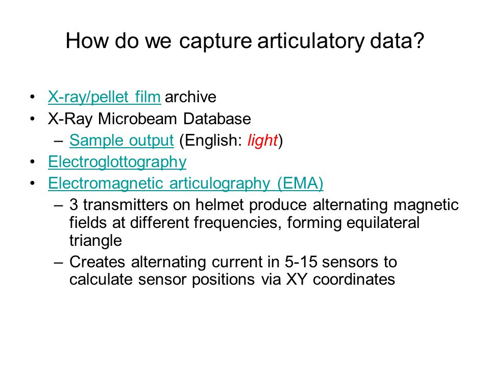 How do we capture articulatory data