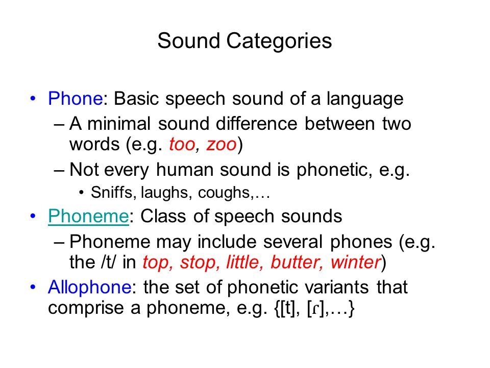 Sound Categories Phone: Basic speech sound of a language