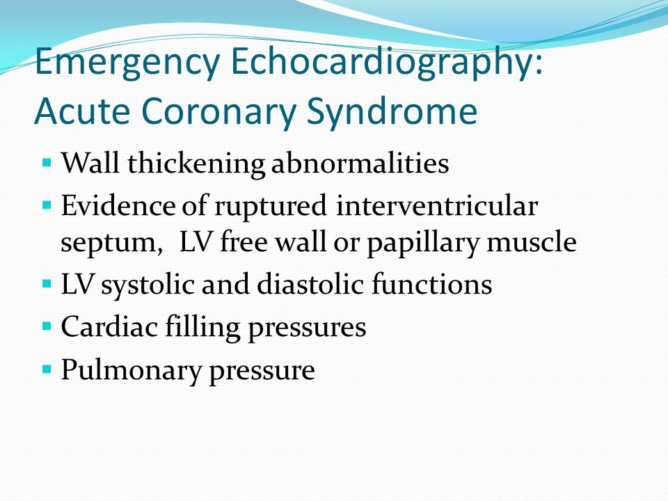 Emergency Echocardiography: Acute Coronary Syndrome