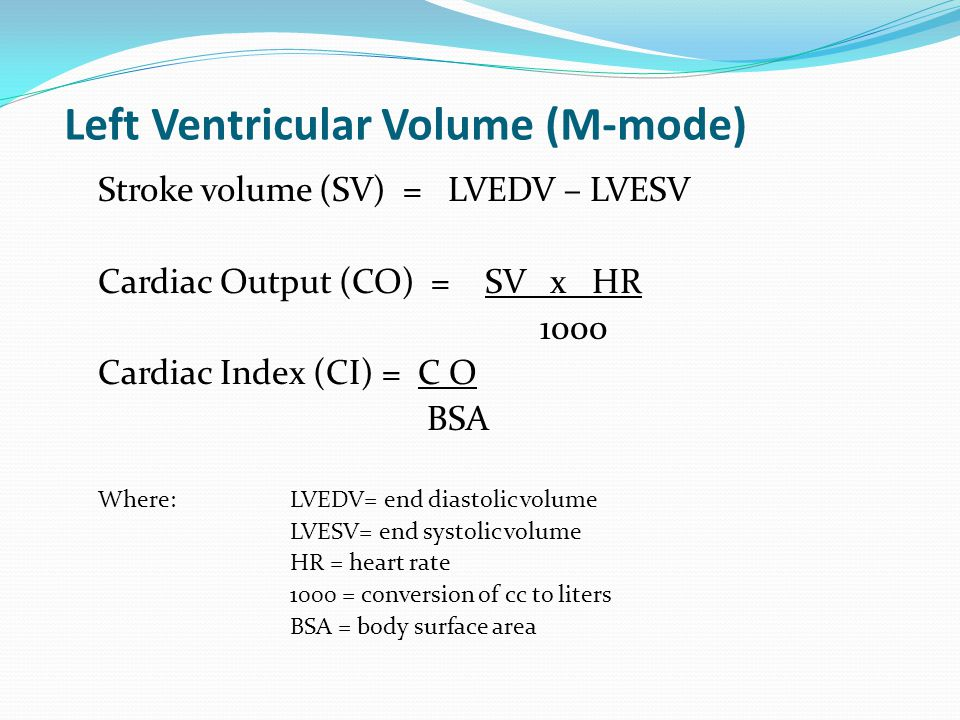 Left Ventricular Volume (M-mode)