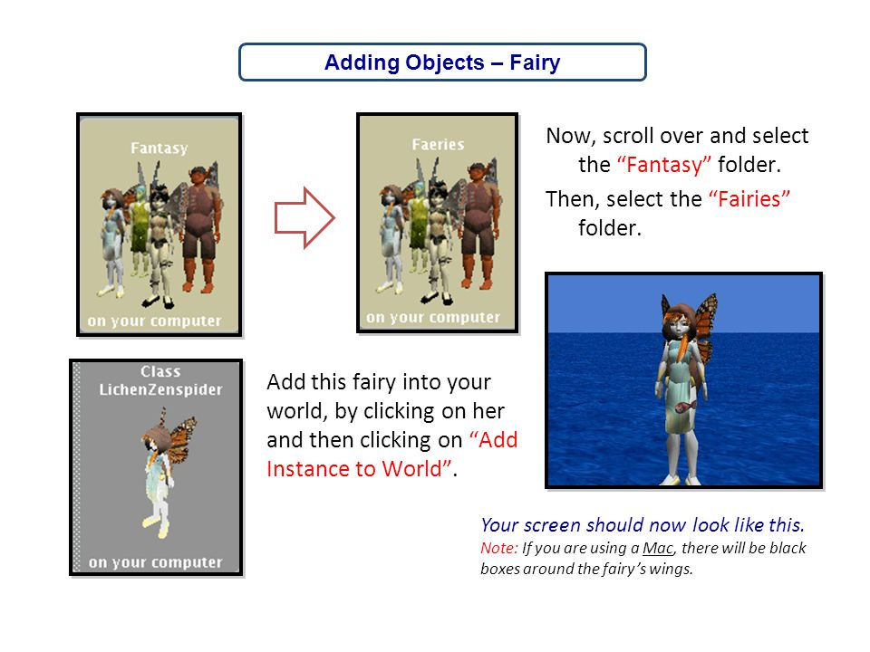 Adding Objects – Fairy Now, scroll over and select the Fantasy folder. Then, select the Fairies folder.
