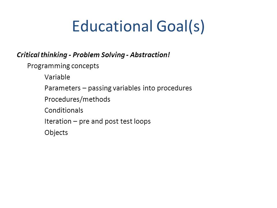 Educational Goal(s)