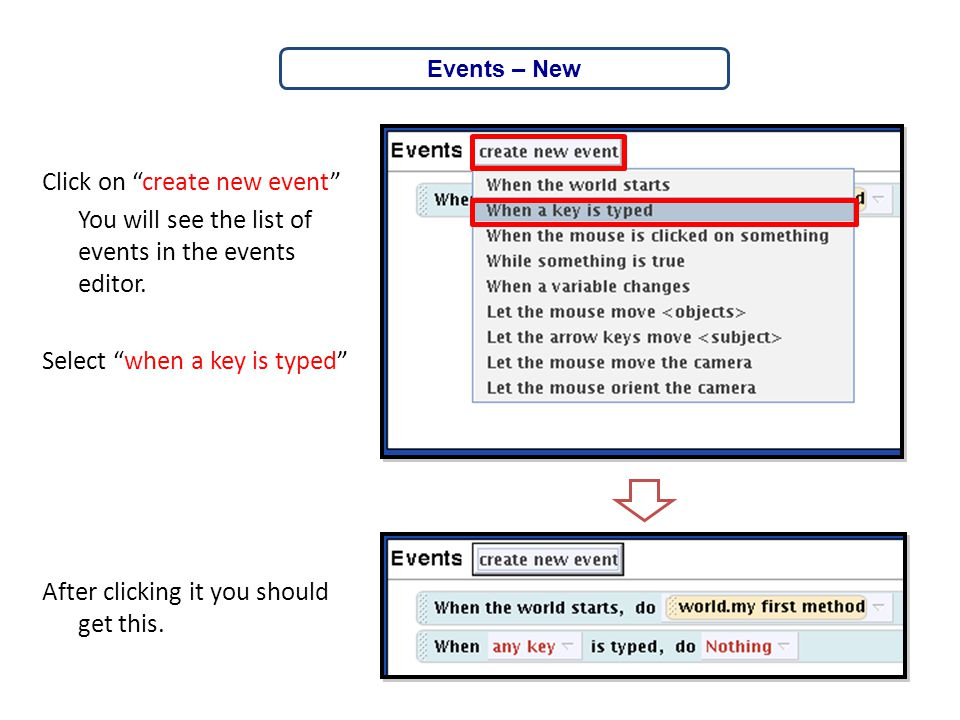 Click on create new event