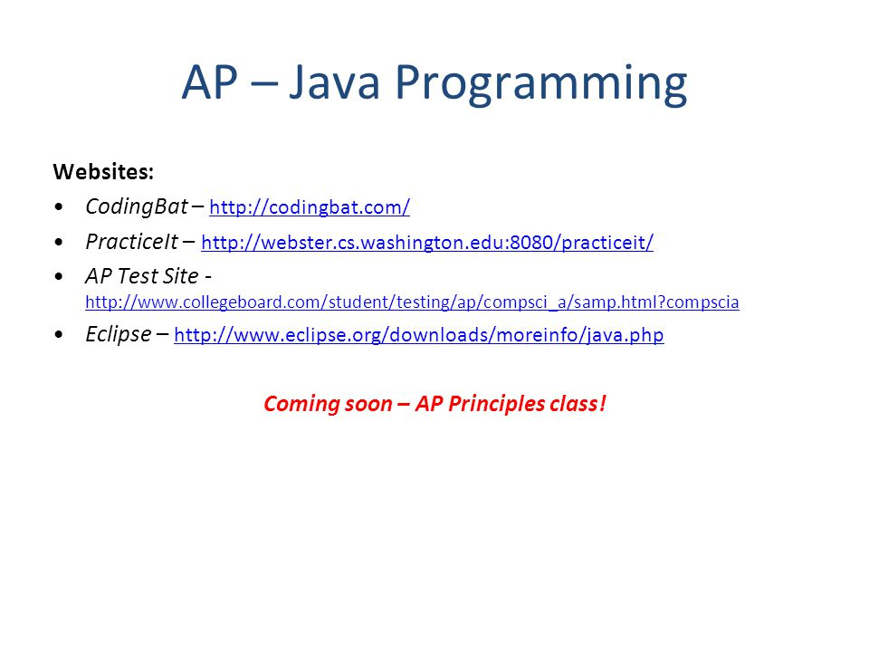 Coming soon – AP Principles class!