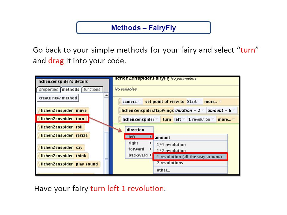 Have your fairy turn left 1 revolution.