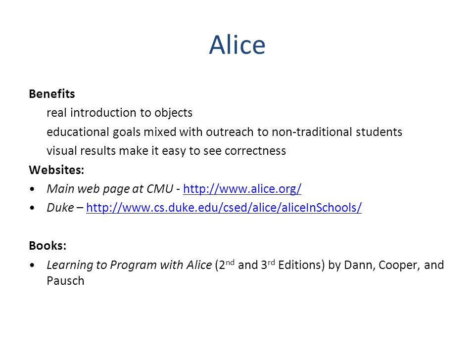 Alice Benefits real introduction to objects
