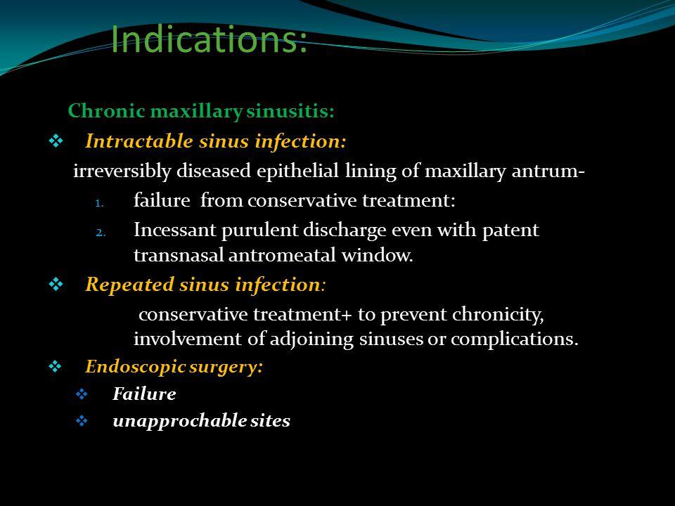 Indications: Chronic maxillary sinusitis: Intractable sinus infection: