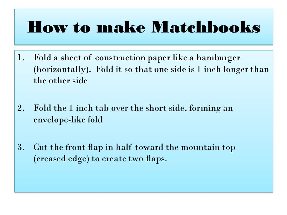 How to make Matchbooks