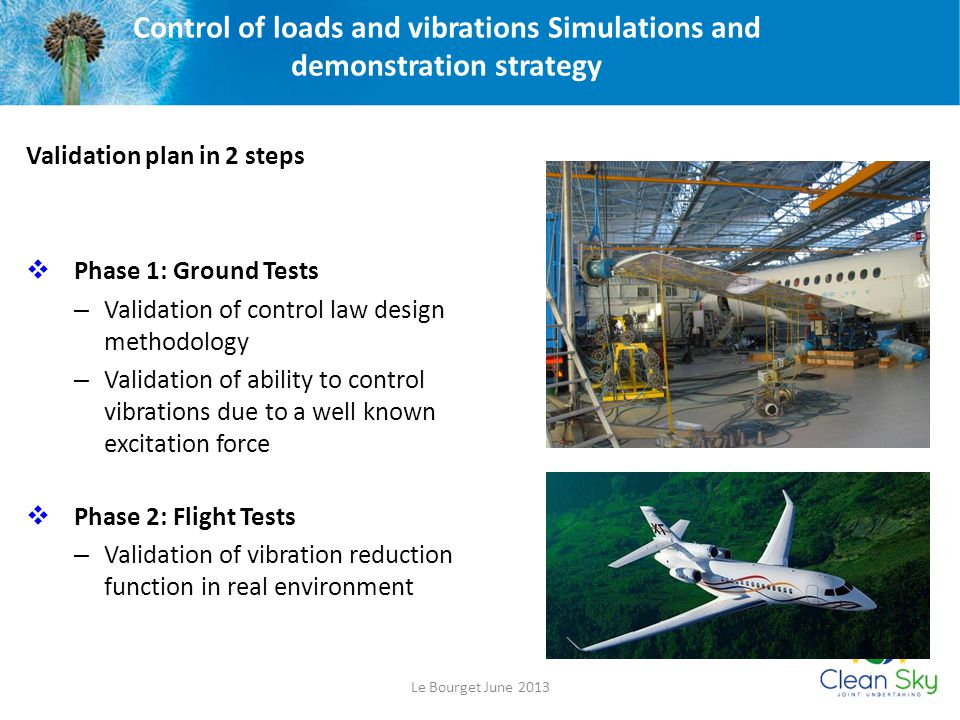 Control of loads and vibrations Simulations and demonstration strategy