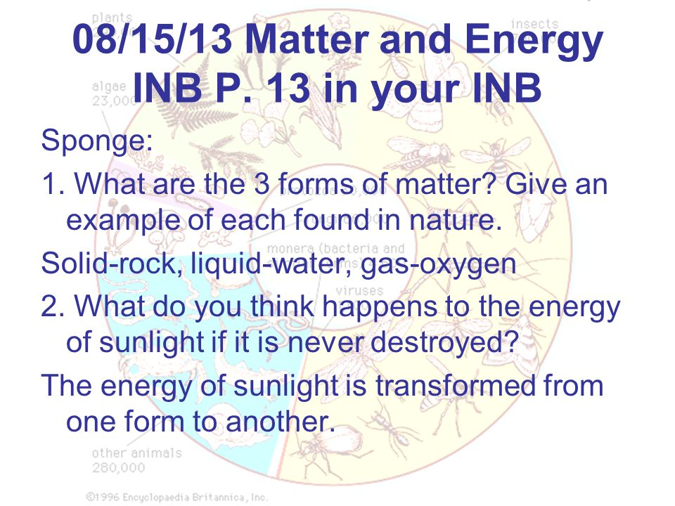 08/15/13 Matter and Energy INB P. 13 in your INB