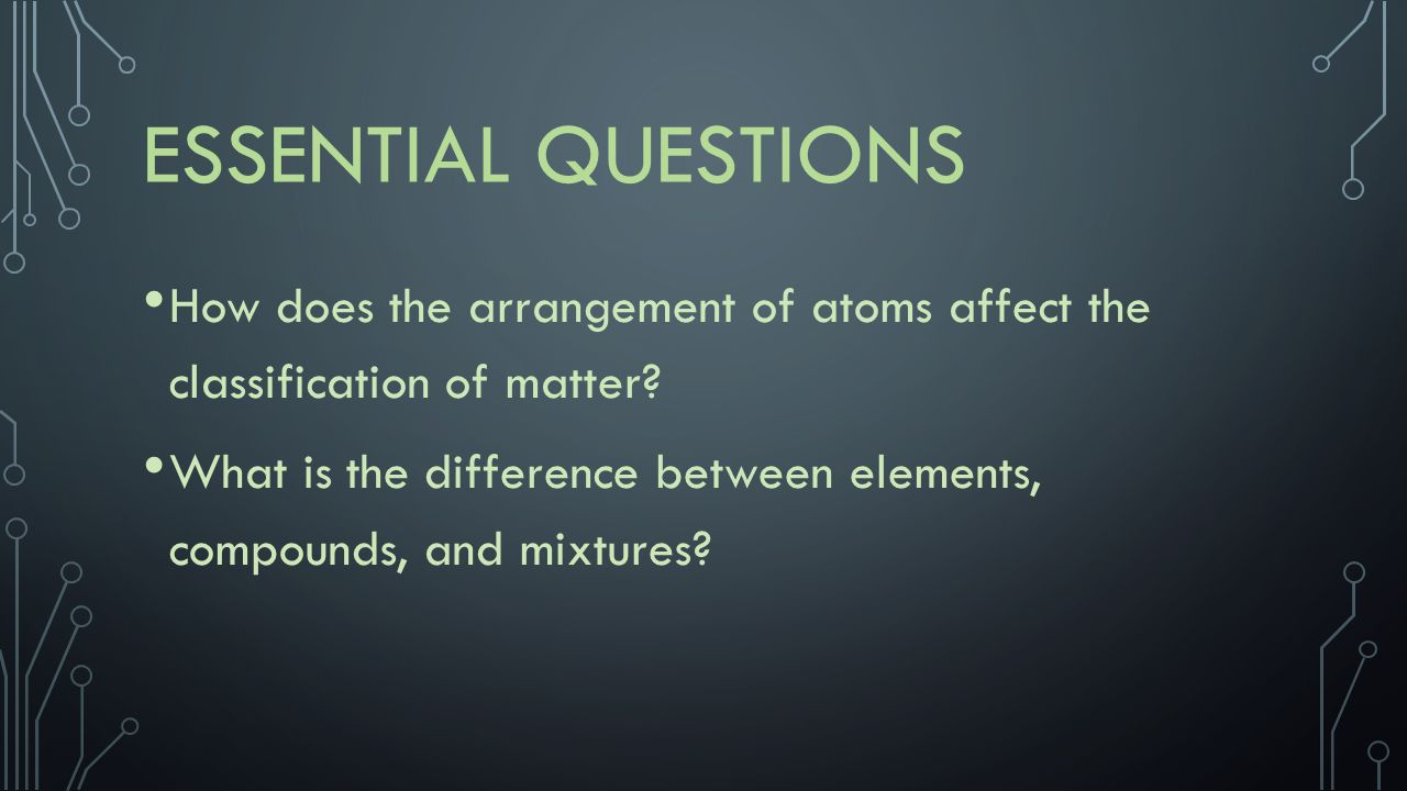 Essential Questions How does the arrangement of atoms affect the classification of matter