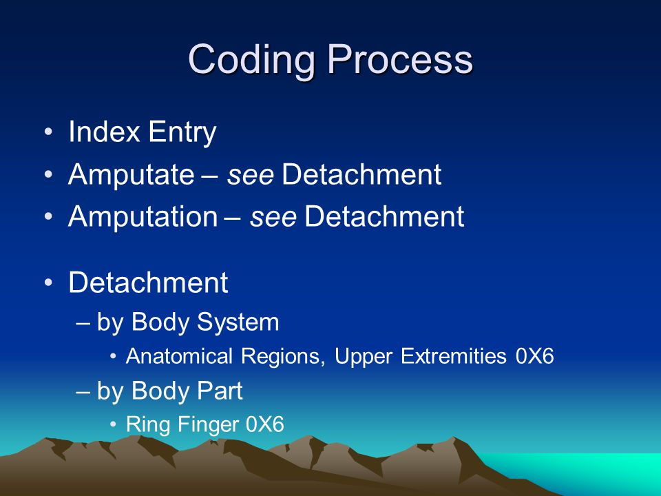 Coding Process Index Entry Amputate – see Detachment