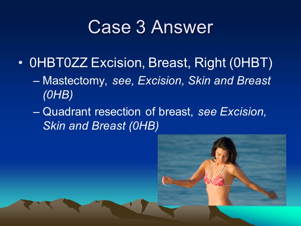 Case 3 Answer 0HBT0ZZ Excision, Breast, Right (0HBT)