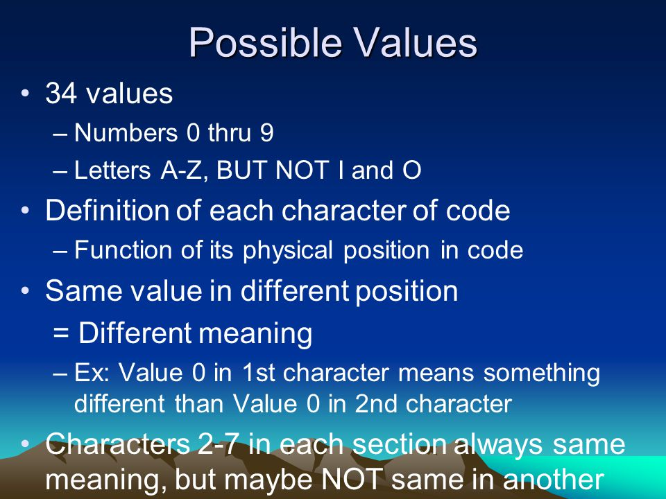 Possible Values 34 values Definition of each character of code