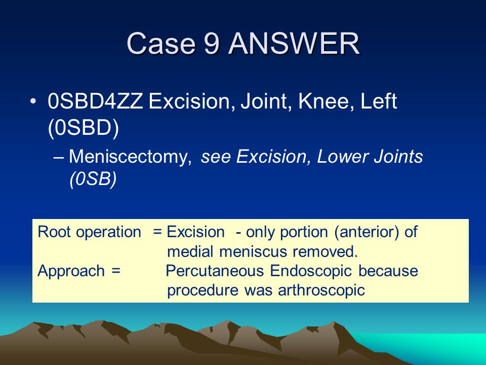 Case 9 ANSWER 0SBD4ZZ Excision, Joint, Knee, Left (0SBD)