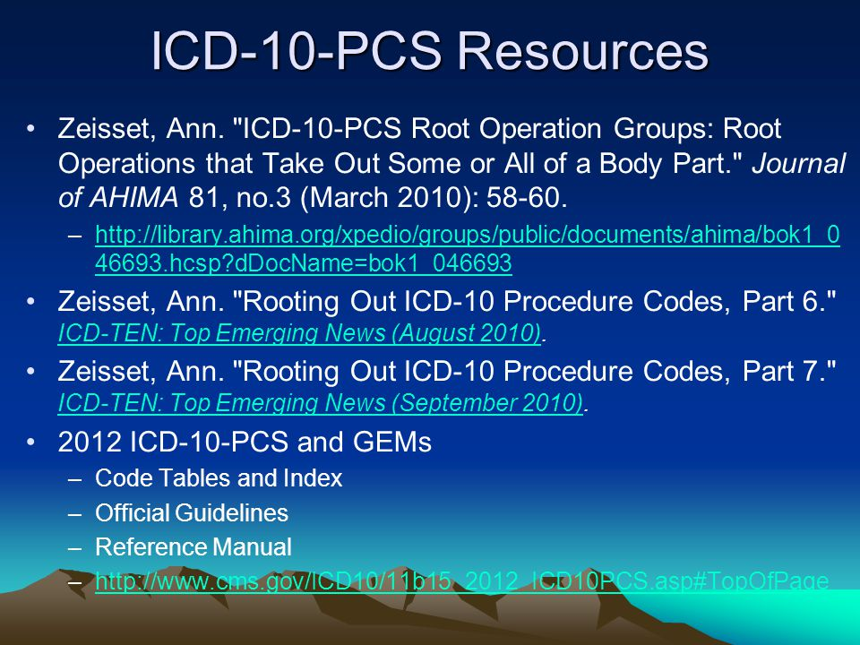 ICD-10-PCS Resources