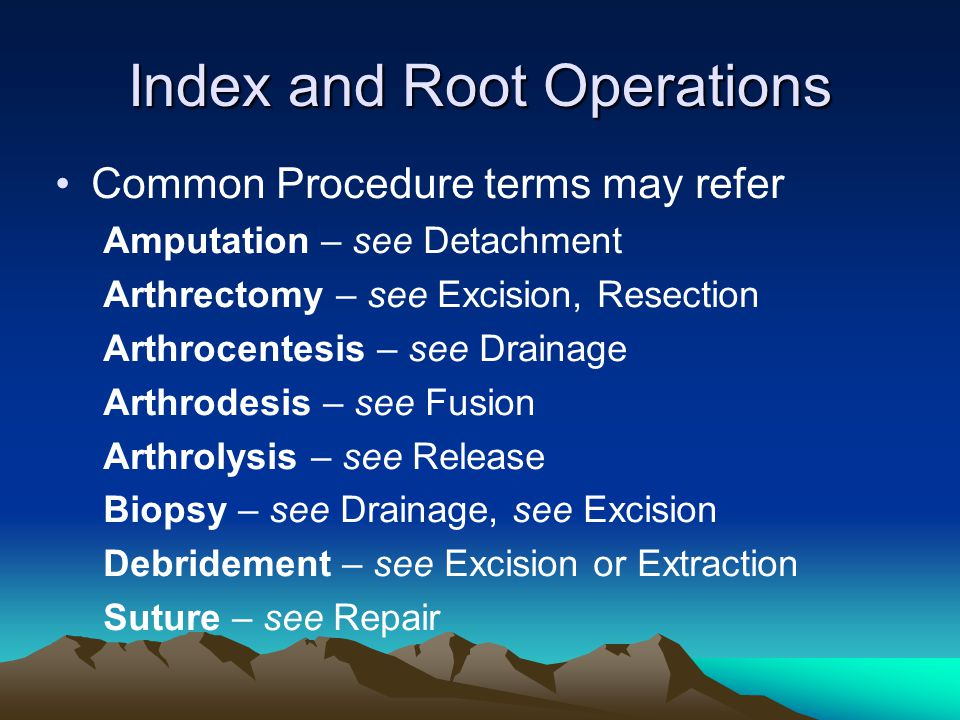 Index and Root Operations