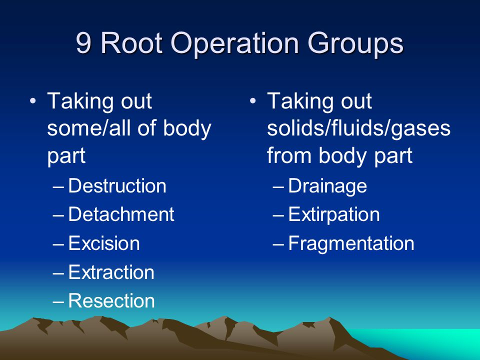 9 Root Operation Groups Taking out some/all of body part