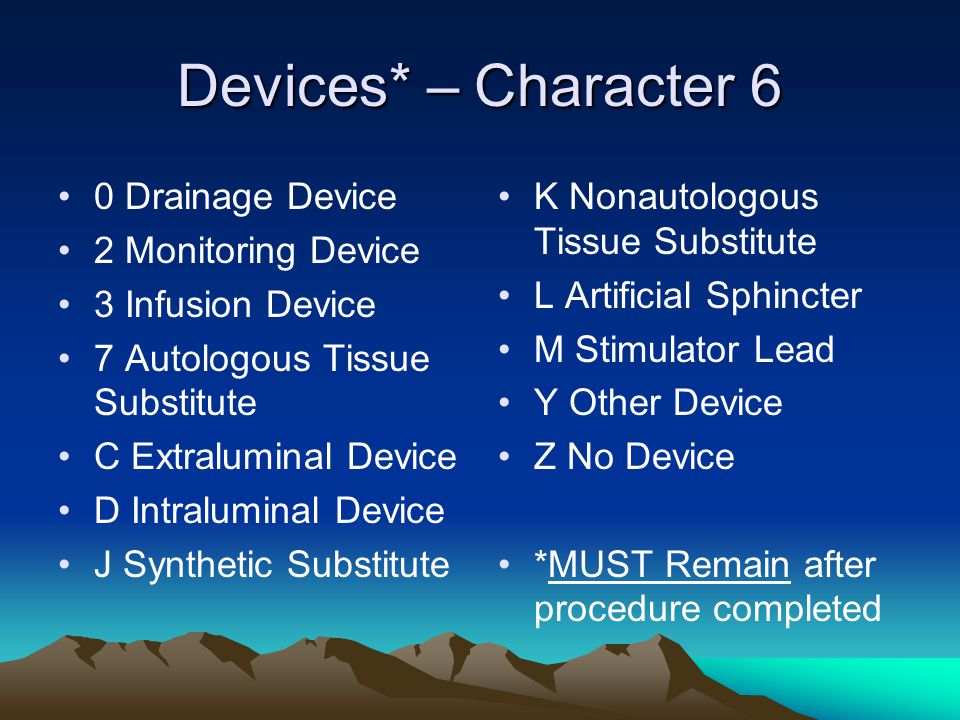 Devices* – Character 6 0 Drainage Device 2 Monitoring Device